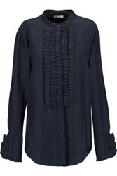 Nina Ricci Ruffled Washed Silk Shirt Midnight Blue
