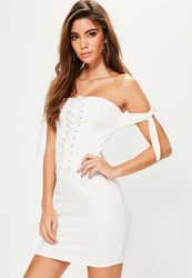 Missguided White Bandeau Corset Tie Sleeve Dress
