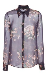 Rochas Floral Button Down Shirt Purple