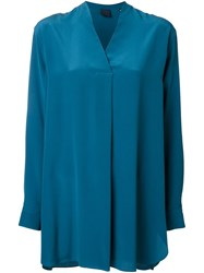 Aspesi Long V Neck Shirt Blue