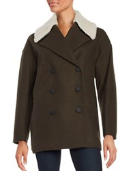 Marc New York Wool Blend Sherpa Collar Coat Olive