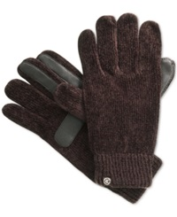 Isotoner Signature Chenille Knit Palm Tech Touch Gloves Chocolate