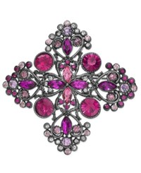 Charter Club Hematite Tone Pink Crystal Cross Pin Purple