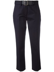 Moncler Belted Chino Trousers Blue
