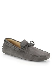 Tod's Suede Tie Drivers Grey Light Blue