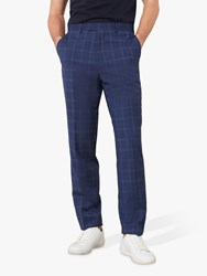 Jaeger Wool Bold Check Slim Fit Suit Trousers Navy