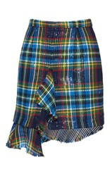 Marco De Vincenzo Cotton Tartan Net Rouche Mini Skirt Plaid