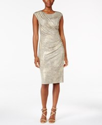 Connected Petite Draped Metallic Dress Gold