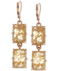 Vince Camuto Rose Gold Tone Square Crystal Double Drop Earrings