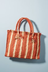Anthropologie Candy Striped Woven Tote Bag Red