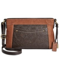 Giani Bernini Sandalwood Leather Tooled Horizontal Crossbody Only At Macy's