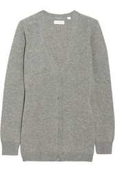 Chinti And Parker Elbow Patch Cashmere Cardigan Gray