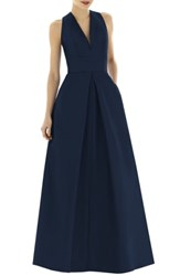 Alfred Sung Dupioni A Line Gown Midnight