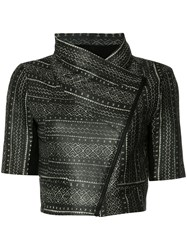 Yigal Azrouel Tribal Print Cropped Jacket Black