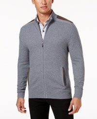 Tasso Elba Men's Textured Knit Full Zip Jacket Created For Macy's Grey Combo