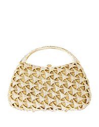 Natasha Crystal Studded Top Handle Bag Gold