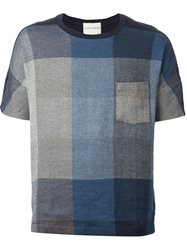 Stephan Schneider Check Print Knitted T Shirt Blue
