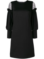 D.Exterior Chiffon Trim Dress Black