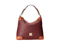 Dooney And Bourke Pebble Leather Hobo Bordeaux W Tan Trim Hobo Handbags