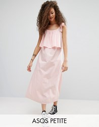 Asos Petite Double Layer Maxi Dress In Cotton Pink Blue