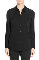 Women's Nordstrom Collection Stretch Silk Shirt Black