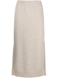 Pringle Of Scotland Knitted Midi Skirt Nude And Neutrals