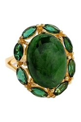 Savvy Cie 18K Yellow Gold Plated Sterling Silver Oval Chrome Diopside And Green Quartz Ring Multi
