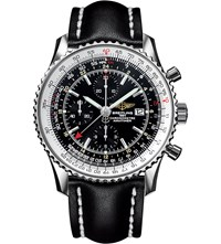 Breitling A2432212 B726 441X A20ba.1 Navtimer World Chronograph Stainless Steel And Leather Watch