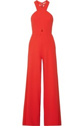Alice Olivia Trinity Cutout Crepe Jumpsuit Red