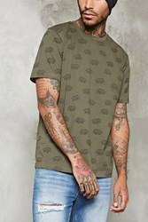 Forever 21 Abstract Elephant Print Tee Olive Black