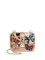 Valentino Small Lock Beaded Butterfly Leather Shoulder Bag Camel