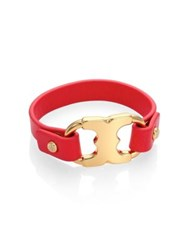 Tory Burch Gemini Link Leather Bracelet Red Canyon