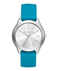 Michael Michael Kors 42Mm Slim Runway Watch W Silicone Strap Blue