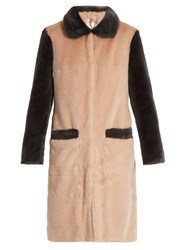 Shrimps Contrast Trim Faux Fur Coat Pink Multi