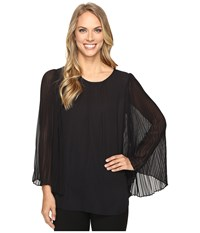 Vince Camuto Chiffon Pleated Sleeve Blouse Rich Black Women's Blouse