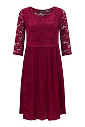 James Lakeland Pleated Lace Dress Red