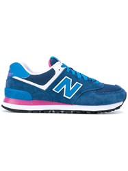 New Balance 574 Core Plus Sneakers Women Cotton Leather Suede Rubber 38 Blue
