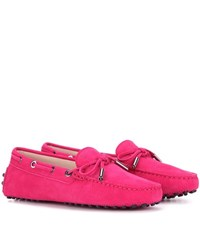 Tod's Heaven Laccetto Suede Loafers Pink