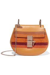 Chloe Drew Mini Suede And Watersnake Trimmed Leather Shoulder Bag Mustard