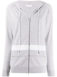 Fabiana Filippi Lace Trimmed Zip Through Hooded Sweater 60