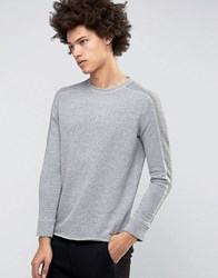 Selected Homme Crew Neck Sweatshirt With Ribbed Arm Detail Light Grey