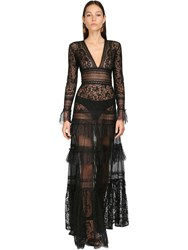 Zuhair Murad Lace Long Dress Black