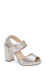 Nina Women's Athena Slingback Strappy Sandal Silver Faux Suede