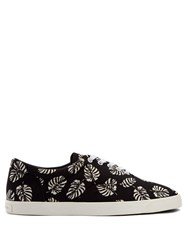 Dolce And Gabbana Palm Print Canvas Trainers Black Multi