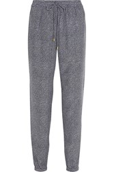 Michael Michael Kors Java Printed Silk Track Pants Blue