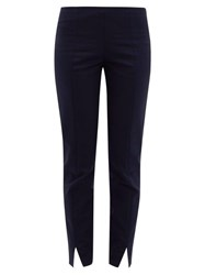 The Row Sorocco Slit Cuff Cotton Blend Trousers Navy