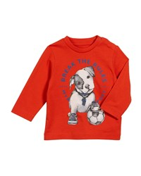 Mayoral Soccer Puppy Long Sleeve Tee Red