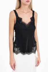 Helmut Lang Women S Satin Lace Slip Top Boutique1 Black