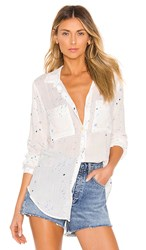 Bella Dahl Hipster Button Down In White. Paint Splatters