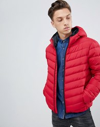 Brave Soul Hooded Puffer Jacket Red